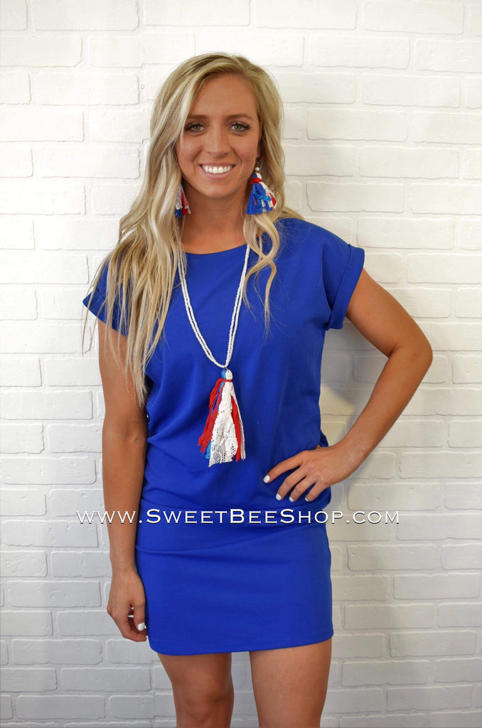 Red White & Blue True Patriot Necklace With Tassel, All Earrings - Sweet Bee Boutique