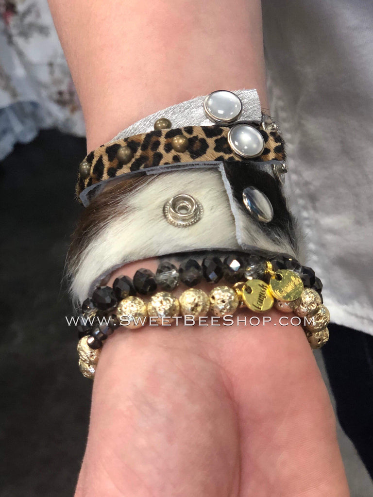 Leather and Faux Fur Mini Stud Bracelet-jewelry-Sweet Bee Boutique