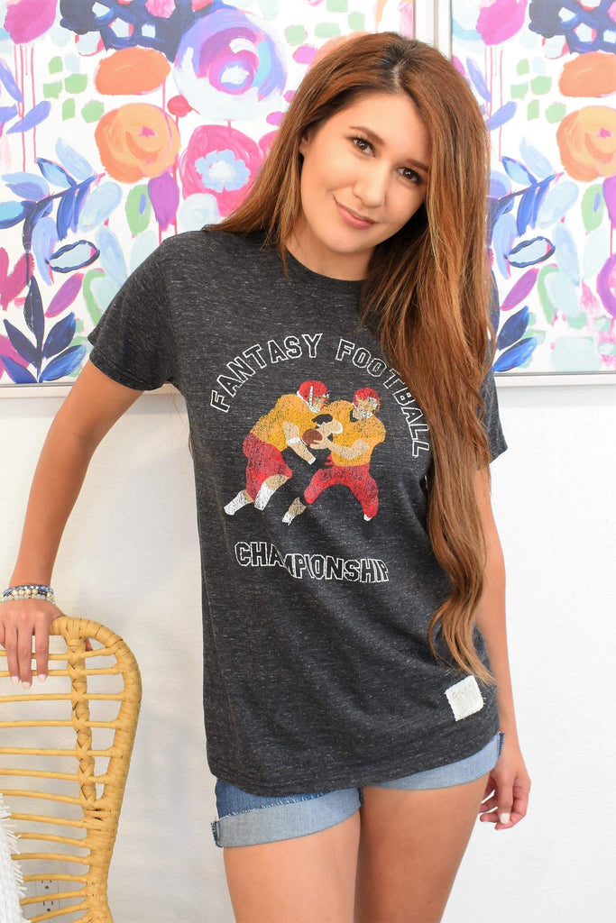 Heathered Grey Fantasy Football Retro Tee, Tops - Sweet Bee Boutique