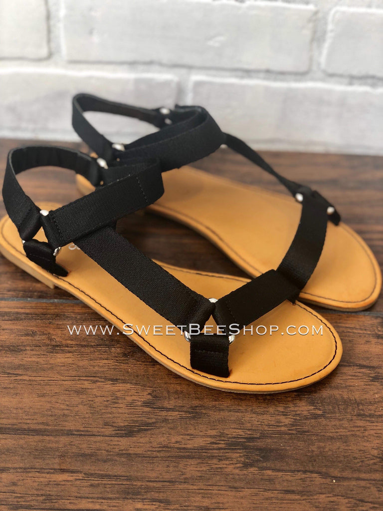 Black Strappy Sandal With Velcro Ankle Strap, Footwear - Sweet Bee Boutique