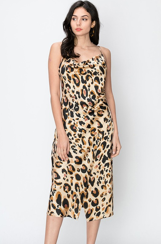 Fierce Cheetah Print Silk Dress