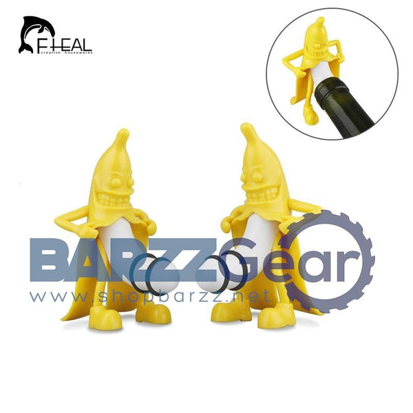 FHEAL Novelty Mr. Banana Wine Stopper Wine Cork Bottle Plug Barware Bar Tools Funny Cute Bottle Stopper with Packing Box
