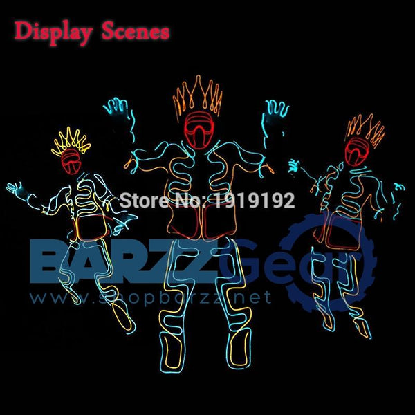 EL Cold Light Clothing Glowing Dance Clothing EL Indian Luminous Costumes Scintillation Costume Men LED Clothes Cold Strip Party