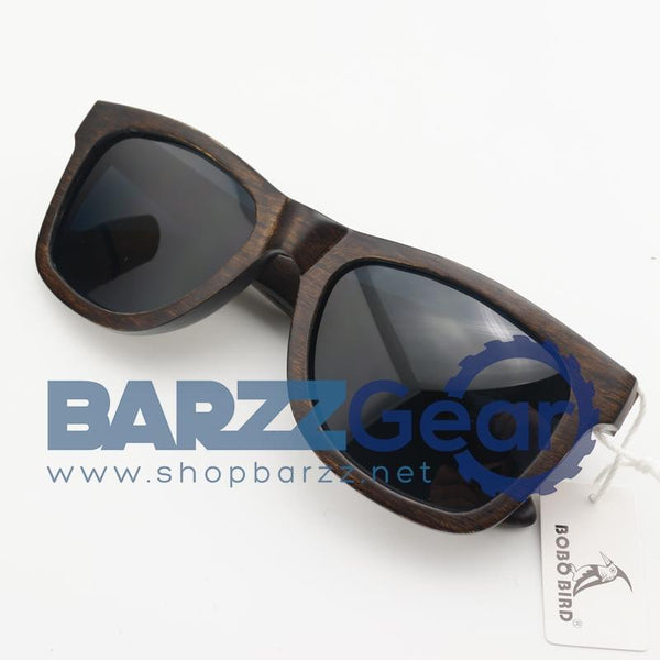 BOBO BIRD AG005a Handmade Ebony Wood Sunglasses Women Men Brand Design Vintage Fashion Glasses Gray Polarized Lens Accept OEM