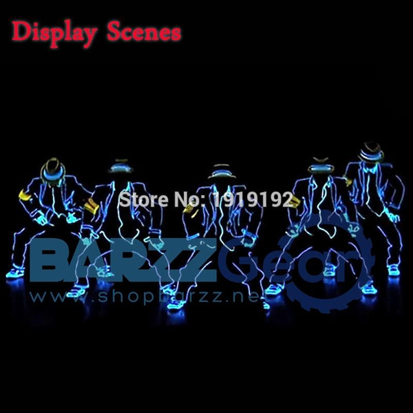 EL Suits 2017 New Fashion LED/EL Clothes Luminous Costumes Glowing Gloves Shoes Light Clothing Men EL Masks Clothe Dance