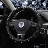 Rhinestone Crystal Crown Covered Steering Wheel Cover