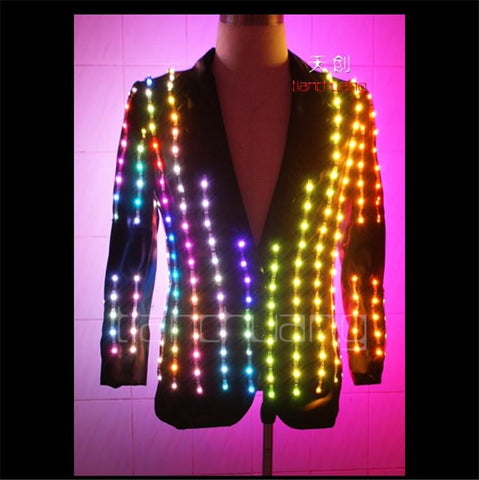 TC-19 Led luminous light jacket performance cloth ballroom programmable Magic dance costumes led robot suit colorful light wear