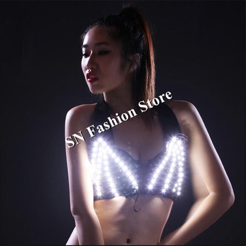 HN03 Colorful LED lighted ballroom costumes dresses/Bar Sexy party stage bra dj disco wears white red green blue dance clothes