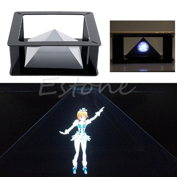 DIY 3D Holographic Hologram Display Holographic Projector Stand Pyramid Box for Smart Phones with 3.5-6.0in Wholesale #K400Y#