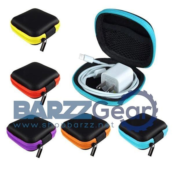 Square Shaped Carrying Hard Case Storage Bag for Earphone Earbuds with Mesh Pocket, Zipper Enclosure