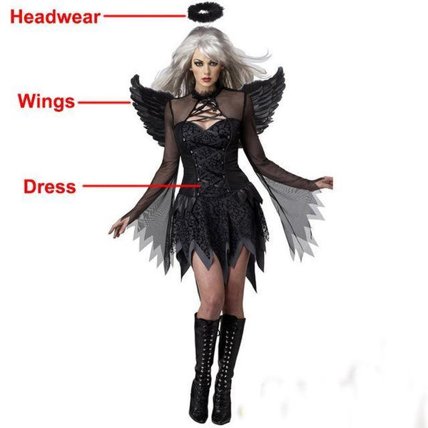 2017 Halloween Costumes For Women Fantasy Cosplay Party Fancy Dress Adult White Black Fallen Angel Costume With Angel Wings