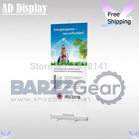 Free Shipping 85*200cm Standard Portable Full Aluminum Pull Up Banner  Exhibition Display Stand With Vinyl Fabric Printing