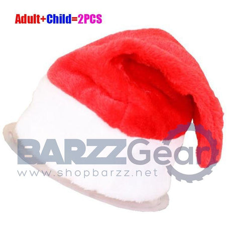 2Pcs/Set Christmas Party Santa Hat Red And White Cap for Santa Claus Costume New