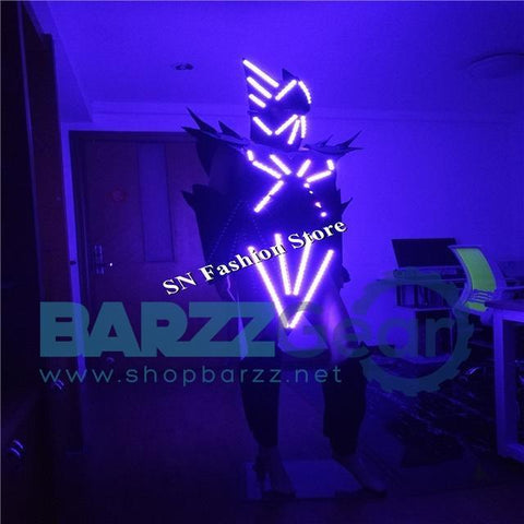 AS90 Ballroom dance led costumes robot costume men women stage model show wear party bar dress dj disco cosplay cloth led helmet
