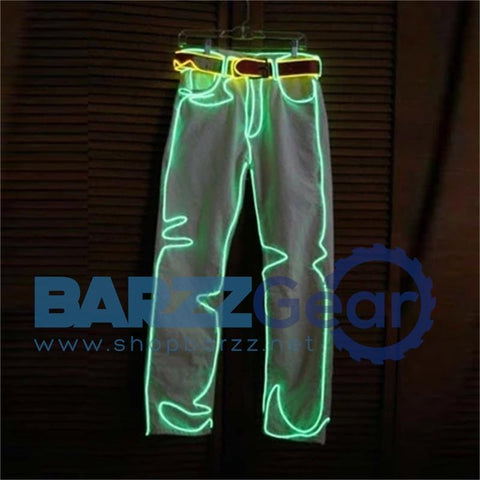 Men Luminous LED Dance Wear Clothing EL Wire Light Pants Dance Costume Suit