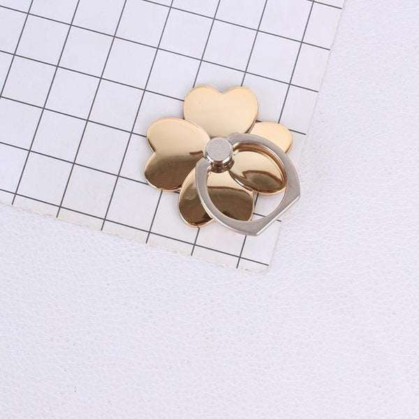360 Degree Four Leaf Clover Desig Finger Ring Mobile Cell Phone Smartphone telephone hand Stand Holder Desk Pop Universal Metal