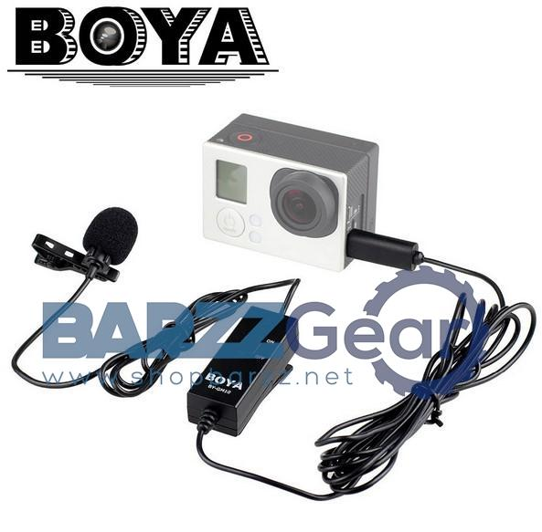 BOYA BY-GM10 Lavalier Lapel Clip-on Omnidirectional Condenser Microphone Interviews Podcasts Dictation for GoPro Hero 3 3+ 4