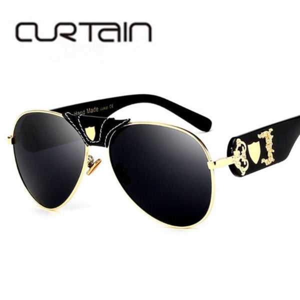 2018 Luxury Brand Designer Women Mirror Sun glasses  New Fashion Sunglasses Metal Leather Decoration Frame Men UV400 Shades