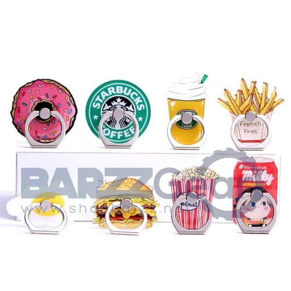 Universal Metal Finger Ring Holder pop mobile phone holder Stand socket Funny Chips Coffee Hamburgers Pattern for iphone