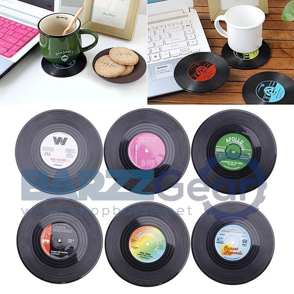 6Pcs Round Vinyl Coaster Record Cup Drinks Holder Mat Tableware Placemat Black