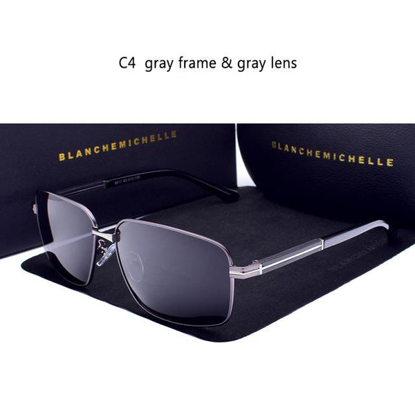 Blanche Michelle New 2018 Rectangle Polarized Sunglasses Men UV400 High Quality Luxury Brand Male Driving Sun Glasses for men