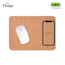 Fimilef Mobile Phone QI Wireless Charging Mouse Pad Mat for Iphone 8 Plus X for Samsung Wood Pattern Phone Wireless Charger Mat