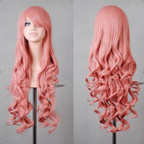 80cm Fashion Blue Purple Red Black Long Wavy Synthetic Wig Lolita Anime Cosplay Woman Wigs For Halloween Costume Party 13 Colors
