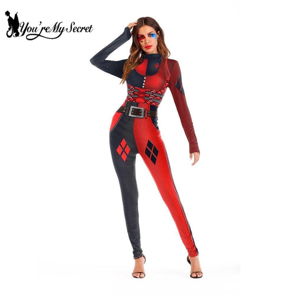 [You're My Secret] 2018 Suicide Squad Harry Quinn Catsuit Super Hero Halloween Costumes For Women Cosplay Costume Jumpsuit