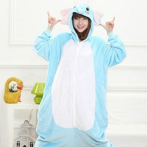 Blue Elephant Animal Cosplay Costume Onesie Hoodie For Adult Women Men Halloween Holiday Party Flannel Full Length