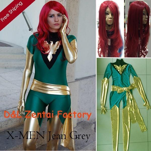 2015 Halloween Costume,Jean Grey Costume, X-Men Phoenix Suit, Lycra Green and Shiny Metallic Gold Superhero Zentai Catsuit