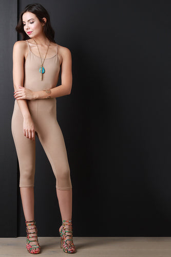 Spaghetti Strap Cross Back Cut Out Jumpsuit