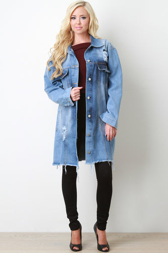 Distressed Denim Longline Jacket