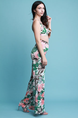Tropical Floral Cutout Crop Top With Wide Leg Pants Set