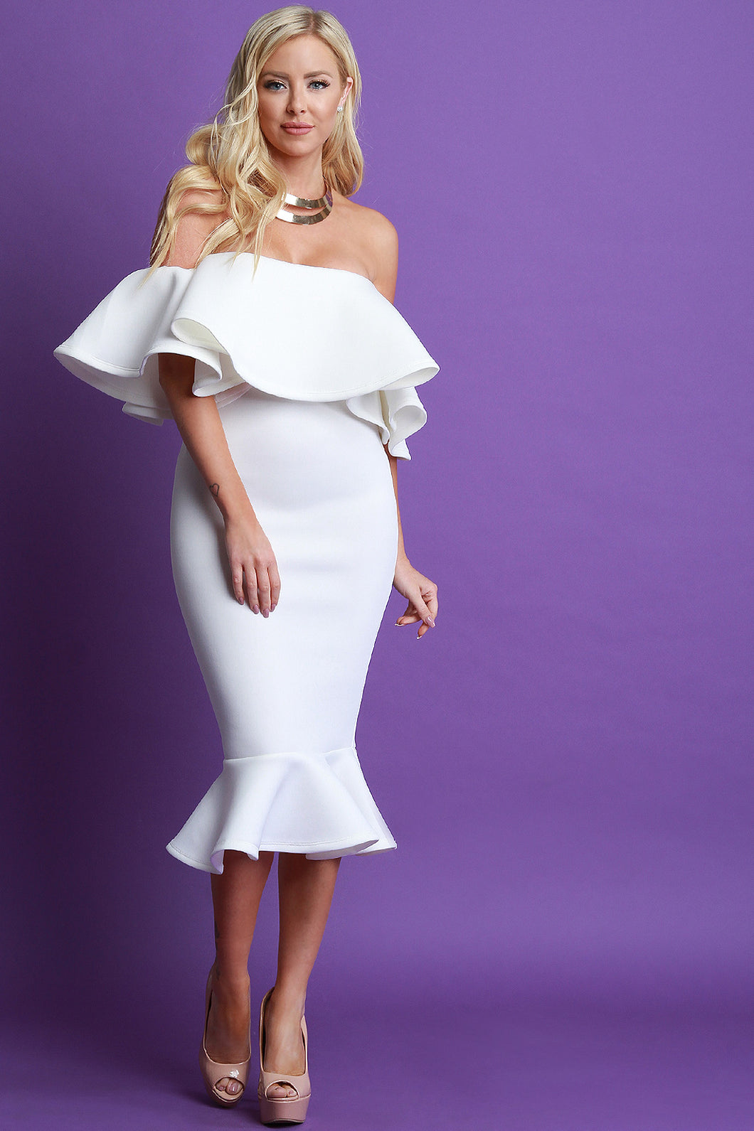 Off The Shoulder Ruffle Midi Dress