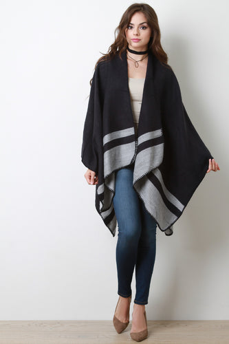 Striped Hem Open Front Poncho Cardigan