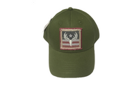 Green Peterbilt Cap with Antler Flag