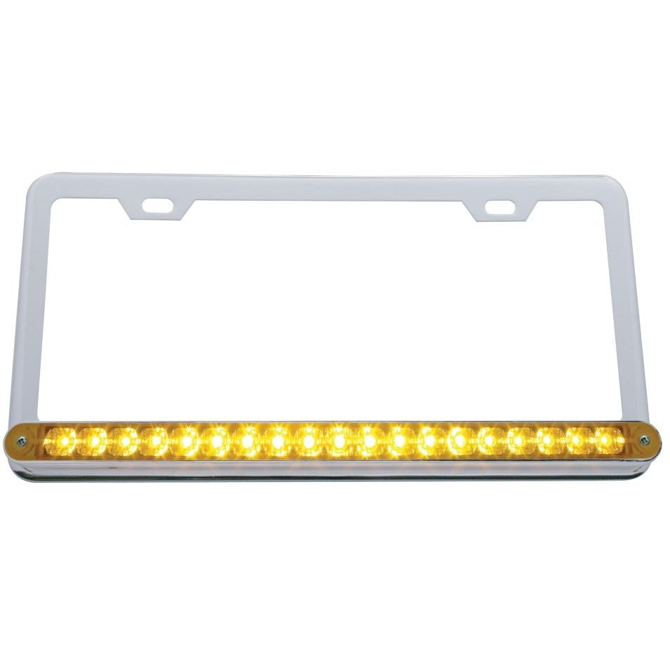 "Chrome License Frame w/ 19 LED 12"" Reflector Light Bar"