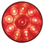 "10 LED 4"" Stop, Turn & Tail Light - Red LED/Clear Lens"