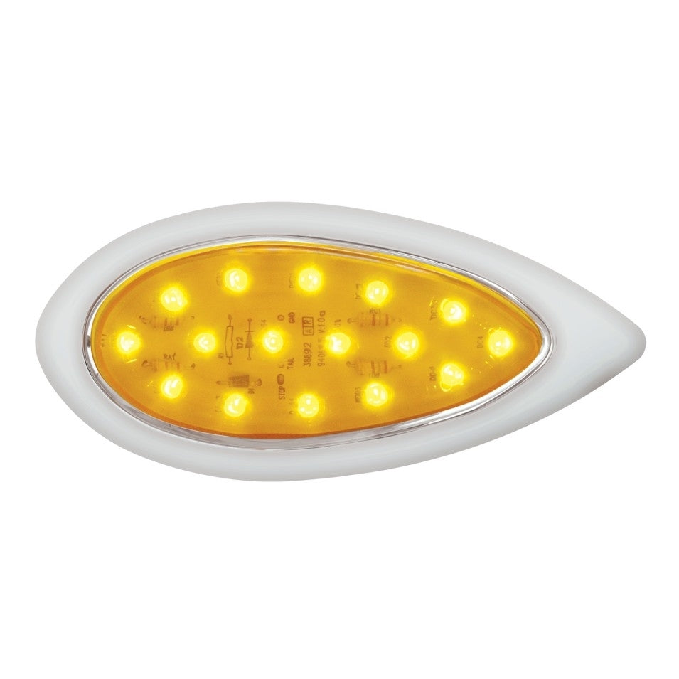 "16 LED ""Teardrop"" Clearance/Marker Light w/ Bezel"