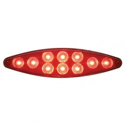 "Red Lens- 10 LED ""Cat's Eye"" Stop, Turn & Tail Light w/ Bezel"