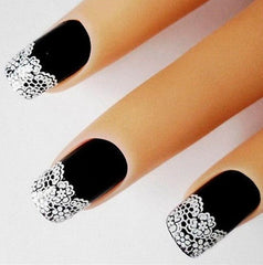 Nail Sticker With White Flower