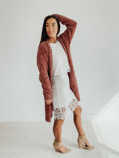 Say Chenille Cardigan in Rust
