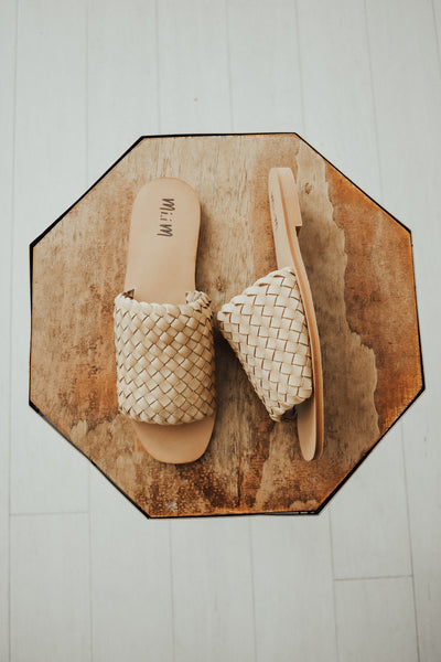 Womens nude slide sandals