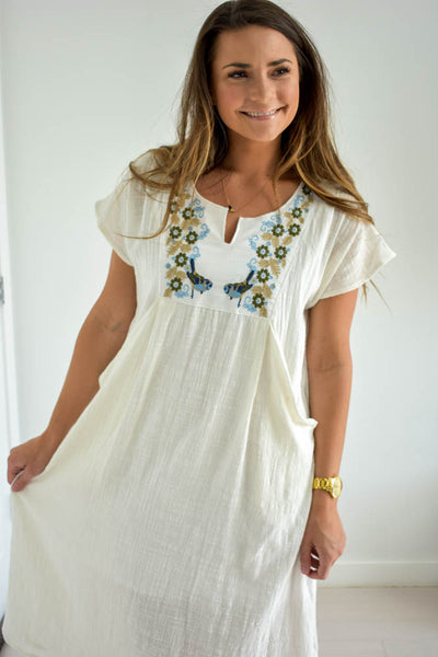 Women's white embroidered dress