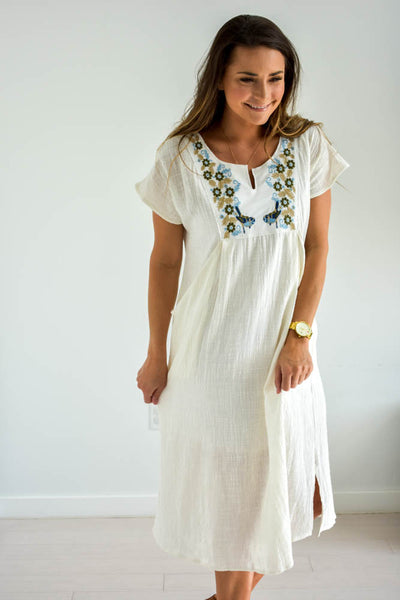 Women's white embroidered linen dress