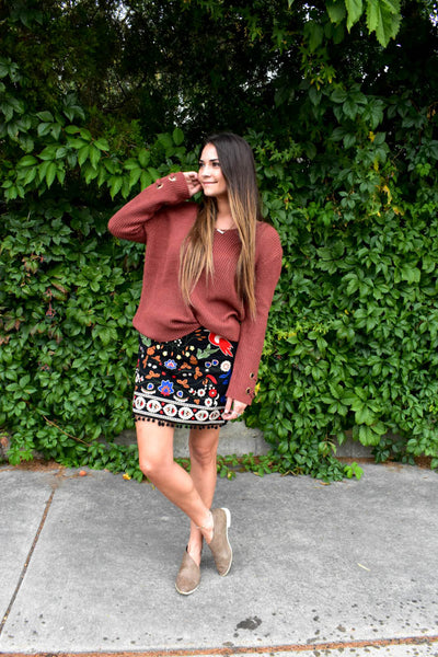 Dark brown red medium knit sweater