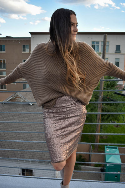 Women's Chunky Knit Khaki Brown Sweater