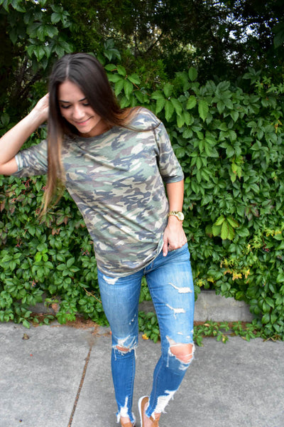 women's boyfriend fit camo t shirt
