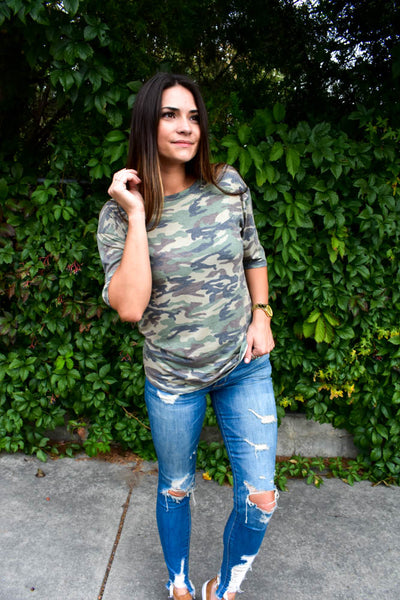 women's camo boyfriend-fit tee