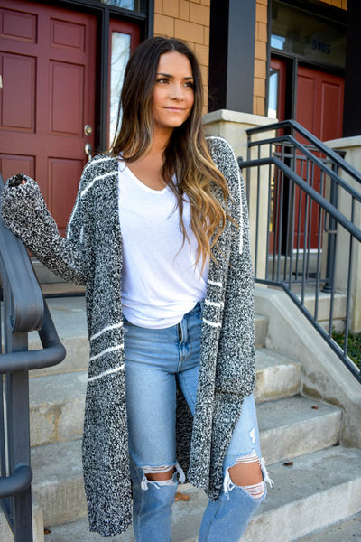 Women's charcoal and white striped popcorn cardigan